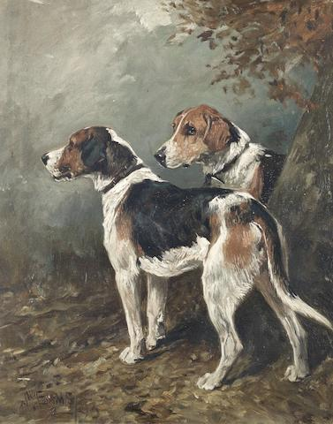 John Emms (British, 1843-1912) Two Foxhounds in a landscape 15 9/16 x 12 3/8 in. (39.5 x 31.5 cm.)
