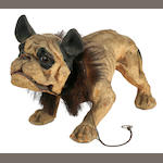 French late 19th/early 20th century papier mache growler bulldog