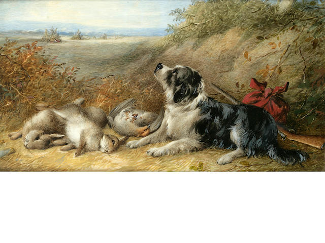 William Cruickshank (British, 1848-1922) Spaniel with the day's bag 5 3/8 x 9 7/8 in. (14.6 x 25.2 cm.)