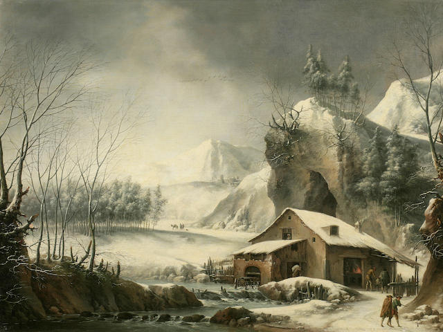 Francesco Foschi (Ancona 1710-1780 Rome) A winter river landscape