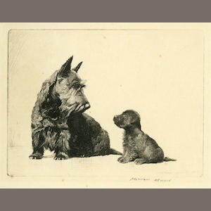 Morgan Dennis (American, 1892-1960) Not So Good, Scottish Terrier and puppie first 4 x 5 1/2 in. (10 .2 x 13.9 cm.) second 5 1/2 x 4 in. (13.9 x 10.2 cm.)