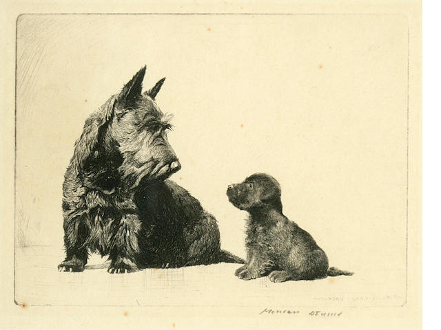 Morgan Dennis (American, 1892-1960) Not So Good, Scottish Terrier and puppy first 4 x 5 1/2 in. (10 .2 x 13.9 cm.) second 5 1/2 x 4 in. (13.9 x 10.2 cm.)