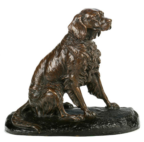 Clovis-Edmond Masson (French, 1838-1913) Seated Spaniel height 10 3/4 in. (27.2 cm.) length 12 1/2 in. (31.7 cm.)
