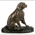 Clovis-Edmond Masson (French, 1838-1913) Seated Spaniel height 10 3/4 in. (27.2 cm) length 12 1/2 in. (31.7 cm.)