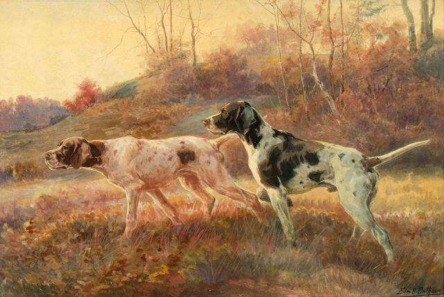 Edmund Henry Osthaus (American, 1858-1928) Two Pointers in the Field 20 x 30 in. (50.7 x 76 cm.)