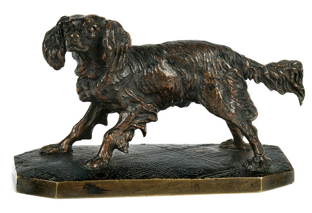 Pierre Jules Mêne (French, 1810-1879) King Charles Spaniel height 3 1/2 in. (8.8 cm.) length 5 1/4 in. (13.2 cm.)