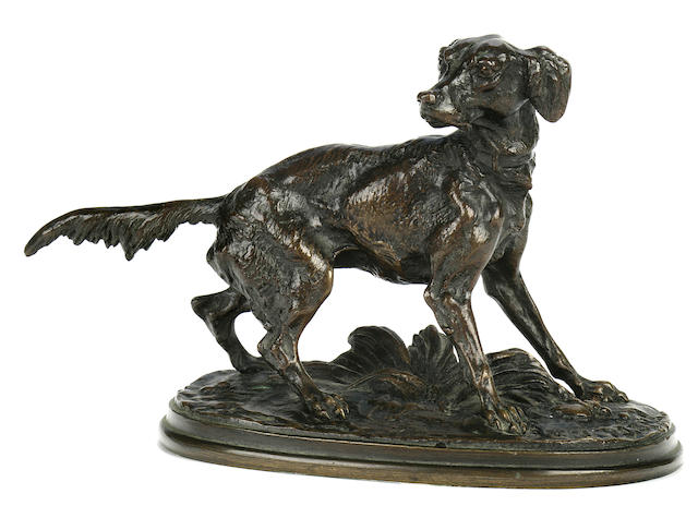 Pierre Jules Mêne (French, 1810-1879) Diane, a Setter Bitch height 4 1/4 in. (10.8 cm.) length 5 3/4 in. (14.5 cm.)