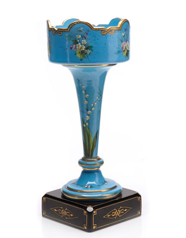 An English Aesthetic Movement turquoise ground vase