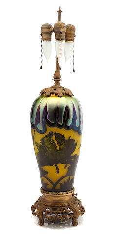 A gilt-metal-mounted iridescent and cameo glass table lamp early 20th century