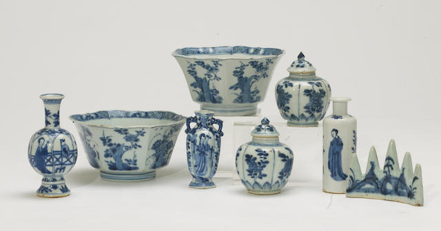 A group of small blue and white export porcelain decorations 18th and 19th century