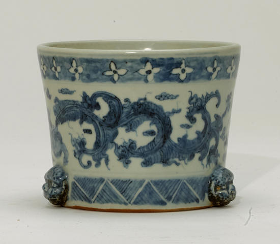 A Ming style blue and white porcelain censer