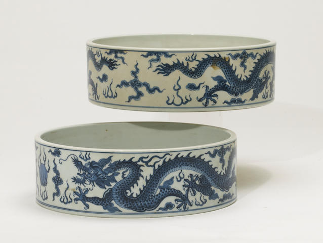 Two blue and white porcelain basins China, contemporary