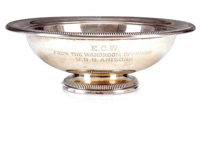 USS Arizona engraved silver presentation bowl