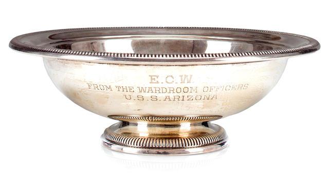 USS Arizona engraved silver presentation bowl