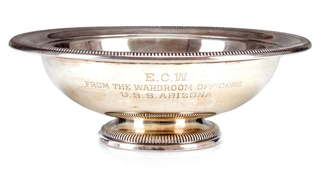 A sterling silver presentation fruit bowl for the U.S.S. Arizona  November 1941 3-1/2 x 10 in. (8.8 x 25.4 cm.) height x diameter.
