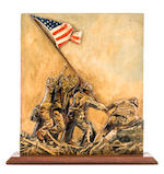 WWII Vintage Hand-Carved Bas-Relief Sculpture of the Flag Raising, hand-painted and mounted on a Mahogany Base