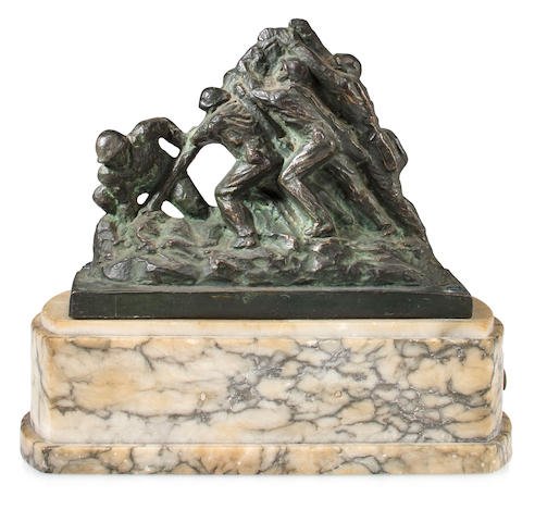 A 1945 dated Bedi Rossi Deluxe Iwo Jima Cast Metal Statue Mounted on Marble Base