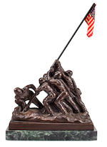 A 1945 Bedi Rossi Iwo Jima Cast Metal Statue with original color flier