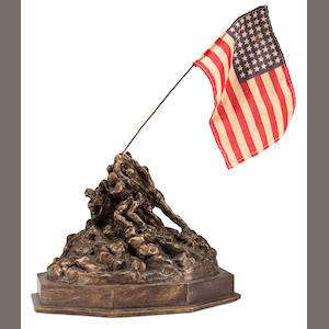 Small Bronzed Plaster Architect's Model of Iwo Jima Monument used for desiging base of Marine Corps War Memorial with vintage photo of this model