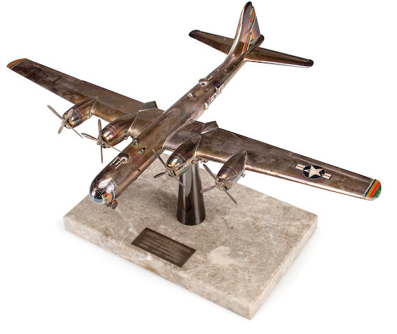 "Presentation Solid Sterling Silver Model of B-29 Superfortress with 16¾"" Wingspan: Awarded to John A. Steele, Colonel, USAF"