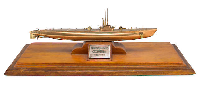 Solid Bronze WWII Submarine Model Made by Crew of USS KINGFISH and Presented to their Captain Bruton