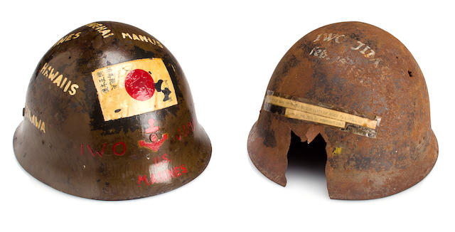 Captured Japanese Helmet Hand-painted by U.S. Marine on Iwo Jima