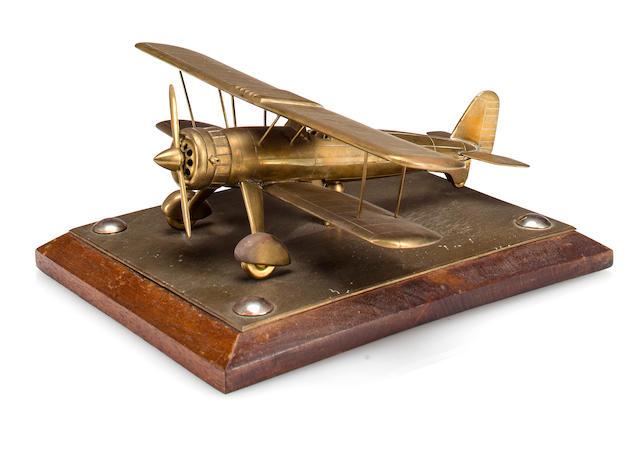Brass biplane model