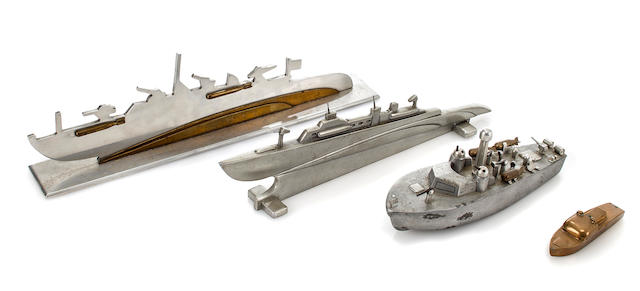 A group of PT-boat models and silhouettes  circa 1944 and later 15 x 4-1/2 in. (38.1 x 11.4 cm.) length x height the largest. 6