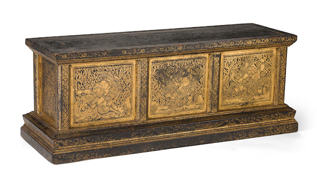 A black lacquer and gilt decorated manuscript box Thailand, 19th century