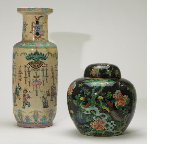 Two Chinese polychrome enameled porcelain decorations