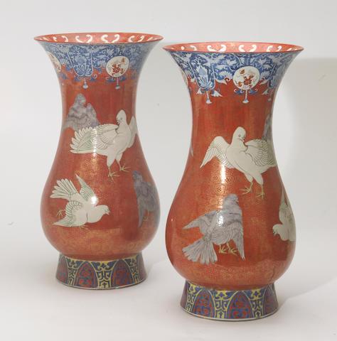 A pair of large Imari style porcelain vases with underglaze blue and overglaze enamel decoration  Japan, Meiji/Taisho period