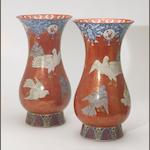 A pair of large Imari style porcelain vases with underglaze blue and overglaze enamel decoration  Japan, Meiji/Taisho period