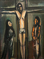 Pranas Domsaitis (South African, 1880-1965) The life of Christ, triptych, oil (3)