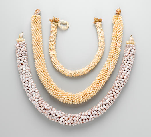 Three Shell Necklaces, Tahiti, Society Islands