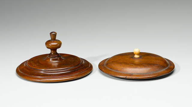 Two Monarchy-Era Bowl Lids, Hawaiian Islands