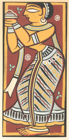 Jamini Roy (1887-1972) Maiden making an offering, framed and glazed