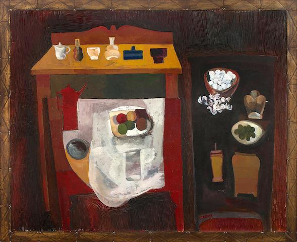 "Cecil Edwin Frans Skotnes (South African, 1926-2009) Still life 51.5 x 43.5""  including original artist's frame"