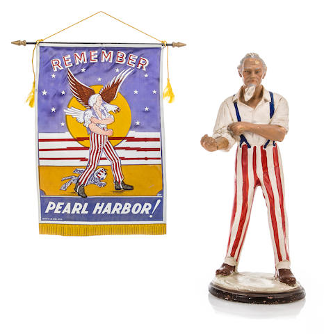 A collection of Pearl Harbor and war-time pieces  after December 1941 16-1/2 in. (41.9 cm.) height of Uncle Sam, the largest. 6
