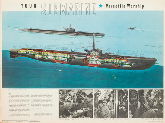 A collection of six World War II US Navy submarine posters  after 1941 various sizes 6