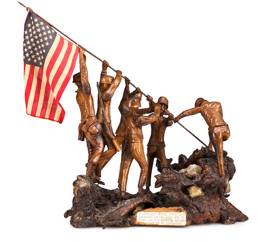 Folk Art Wood Carving of Iwo Jima Flag Raising, 1945