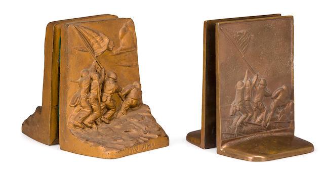Group of Five (5) Iwo Jima Bookends designed by de Weldon