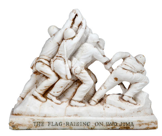 Felix de Weldon, (American, 1907-2003)   An Alabaster model of the Flag Raising on Iwo Jima   circa 1945