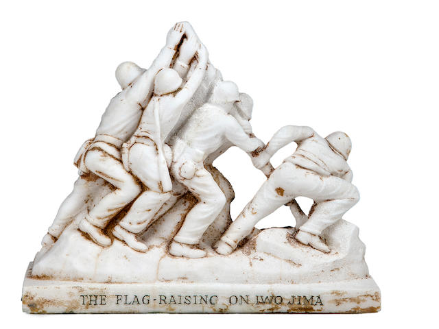 Rare 1945 Alabaster Cast Stone Statue of Iwo Jima Flag Raising (X-Collection Felix De Weldon)