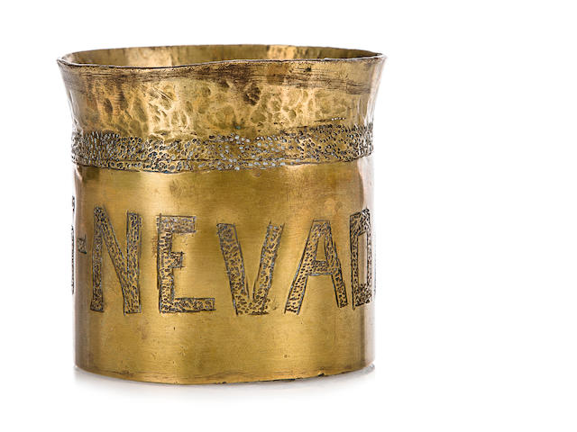 USS Nevada rum cup and cap tally