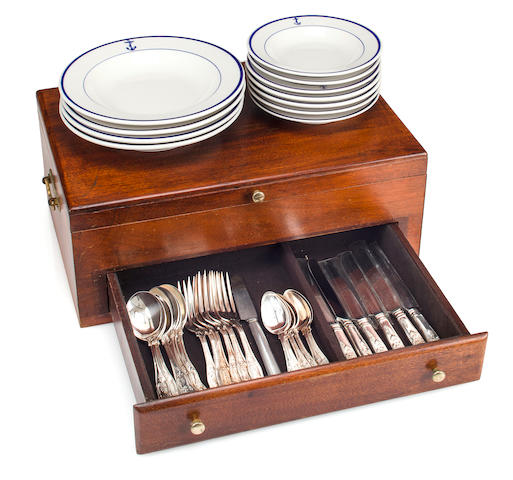 A collection of U.S.N. china and flatware  early 20th century 17-1/2 x 11-1/2 x 7 in. (44.4 x 29.2 x 17.7 cm.) the flatware case and smaller. 58