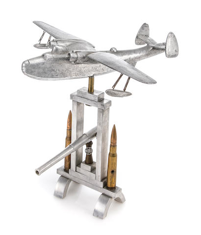 An aluminum desk-top model of a U.S. Navy Catalina seaplane  circa 1945 14 x 20 in. (35.5 x 50.8 cm.) height x wingspan.