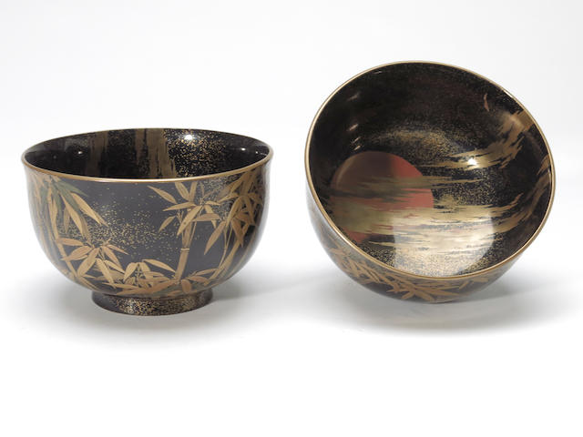 Two Japanese lacquer bowls Taisho period