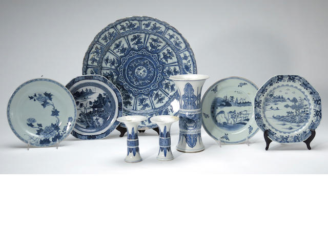 A group of Chinese blue and white porcelain decorations 18th and 19th centuries 18th and 19th centuries
