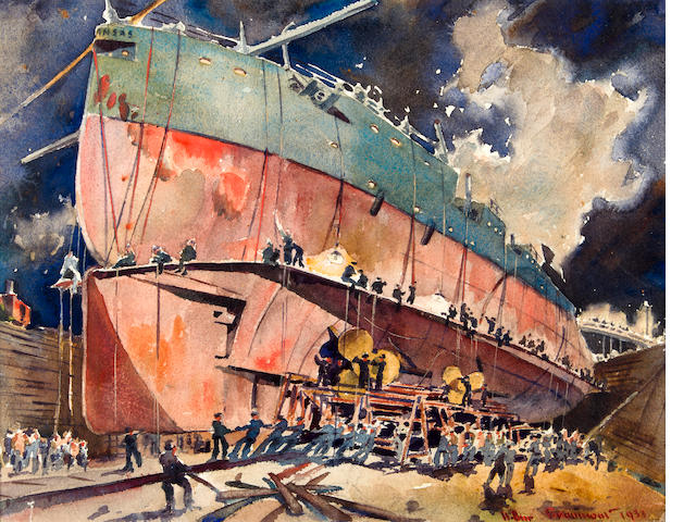 "Arthur E. Beaumont (American, 1890-1978), ""Dry Dock - U.S.S. Arkansas, 1933"", Watercolor on paper, signed and dated ""Arthur Beaumont"", 1933"