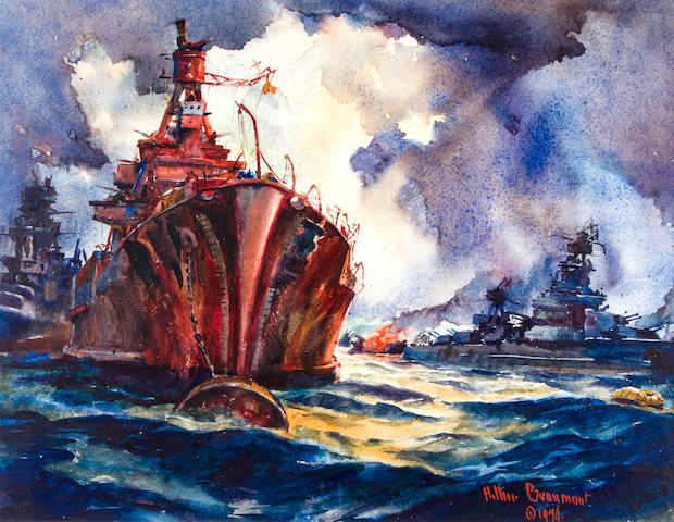 Arthur Edwaine Beaumont (American, 1890-1978) Atomic disaster - target ship U.S.S. Nevada night of 'Able' bomb blast - Bikini 13-1/4 x 17 in. (33.6 x 43.1 cm.)